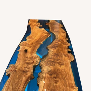 Walnut & Epoxy Resin Table Countertop Table Natural Wood Home Deco Made To Order