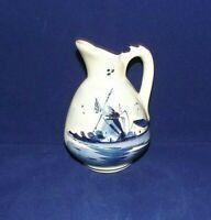 Vintage Small 4 1/4 Vase Pitcher Delft Holland Blue White Porcelain Windmill 114