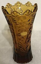 24% Amber Lead Crystal Vase 8 1/4 Tall 5 Across Top Western Germany Floral Heavy