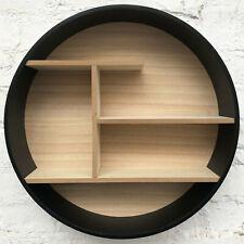 Wooden Black Round Shape Floating Wall Shelves Storage Display Shelf Organizer