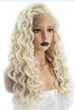 Natural Womens Long Kinky Curly Light Platinum Blonde Lace Front full hair Wig