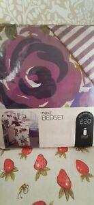 Next single duvet set purple floral print RRP £20