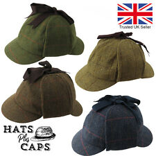 Deerstalker Hat Sherlock Holmes British Tweed Earflaps Teflon Water Repellent