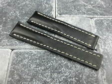 22mm Calf Leather Strap Black Deployment Watch Band BREITLING NAVITIMER 22