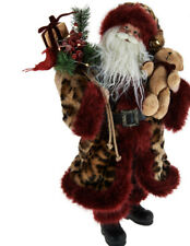 "H209694 Dennis Basso 20"" Talking Santa Claus w/ Faux Fur Trim"