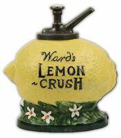 "WARD'S LEMON CRUSH SODA POP SYRUP 15"" HEAVY DUTY USA MADE METAL ADVERTISING SIGN"