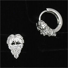 Grape Fruits 18K W GP Wedding Party Earrings Hoop Costume Jewelry CZ Clear 471