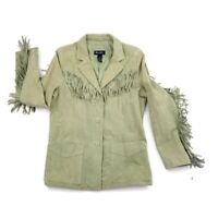 Denim & Co Women's Suede Leather Light Green Western Fringe Jacket Large L