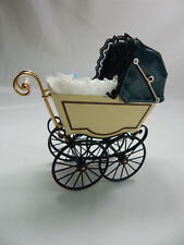 Heidi Ott Dollhouse Miniature Light 1:12 Scale Doll's Pram Satin Green #XZ115