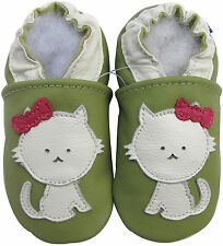 carozoo cat green 0-6m soft sole leather baby shoes