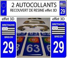 2 adesivi per targa auto TUNING EFFETTO DOMING RESINA BRETAGNA BREIZH 29