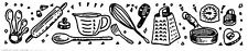 Unmounted Rubber Stamp, Kitchen, Utensils, Cooks Border, Cooking, Recipe Card
