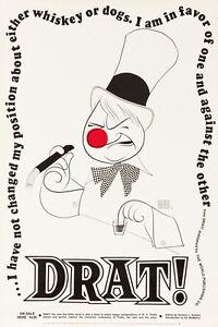 Original Vintage Poster Al Hirschfeld Drat WC Fields Caricature Comedy 1960s Art