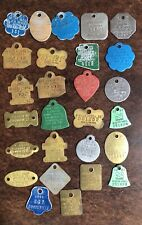Lot Of 27 Dog Tags Licenses / Rabies Brass/Aluminum Mostly 1980s 1990s