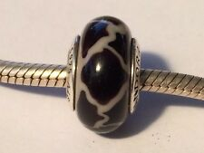 Authentic Pandora Massai Black White Giraffe Murano Glass Charm 790942 - retired