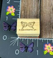 Stampin' Up! Costume Masquerade Glasses Rubber Stamp 2004 Mini Wood Mount #M149