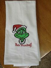 Embroidered Velour Hand Towel - Christmas - Bah Humbug/The Grinch