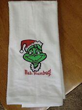 Embroidered Velour Hand Towel - Christmas - Bah Humbug/The Grinch