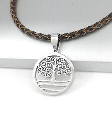 Silber Baum Des Lebens Edelstahl Anhänger Braun Lederband Halskette Geflochten