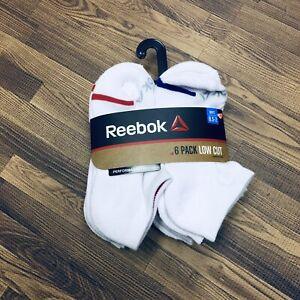 Reebok 6 Pack Kids Low Cut Performance Training Socks Shoe Size 8.5 to 2 White