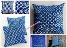 5 pcs Wholesale Lot Of Indigo Blue Kantha Cushion Cover Hand Block Pillow Case L