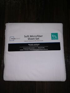 Mainstays Soft Wrinkle Resistant Microfiber Twin/Twin Xl Arctic White Sheet Set