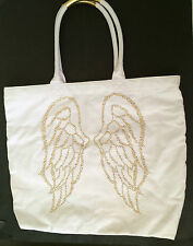 VICTORIA'S SECRET White Gold Canvas Bling Angel Wings Tote Shopper Beach BAG