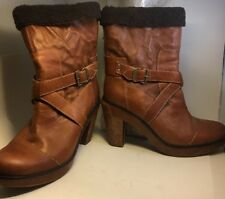 Timberland Leather Womens Boots Sz 10 Brown Platform Partial Lining Heel
