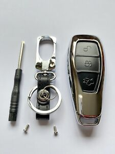 METAL LETHER REMOTE SMART KEYLESS KEY FOB COVER FITS FORD MONDEO FIESTA FOCUS