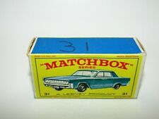 "Matchbox Regular Wheels No 31 Lincoln Continental ""E3"" Type Empty Box Very Good"