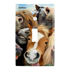 Horses Selfie Plastic Wall Decor Toggle Light Switch Plate Cover