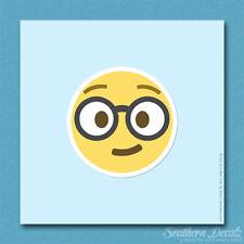"Nerd Glasses Smart Emoji - Vinyl Decal Sticker - c179 - 3.75"" x 3.75"""