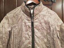 Eddie Bauer Women's Premium 650 Fill Goose Down Brown Floral Zip Jacket Sz Sm