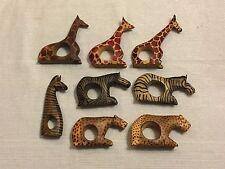 (8) Hand Carved African Safari Animals Wooden Napkin Rings giraffe zebra cheetah