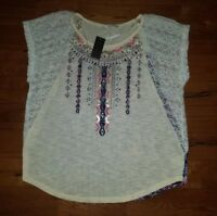 NEW Women's Lace Shoulder MISS ME Top Size Small S