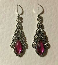 VICTORIAN STYLE FILIGREE SILVER PL DROP EARRINGS PINK CRYSTAL POINTED STONE Hook