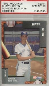 Shawn Green 1992 Fleer ProCards Dunedin Blue Jays Card # 2011 GEM MINT 10