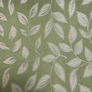 Green Ivory Floral Leaves Leaf Pattern Curtain Fabric Material 137cm wide BR316