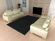 Area Rug Carpet 5 x 7 Ft Black Solid Square Rugs Living Room Floor Modern Decor
