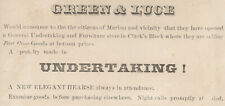 1880's  MARION, N Y UNDERTAKERS TRADE CARD, GREEN & LUCE, on CLARKS BLOCK  Z520