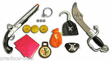 Pirates Fancy Dress Accessories Toy Sword Gun Eye Patch Scarf Earring & Hook