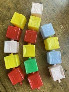 Vintage Snap Lock 15 Pcs Snap Together Pop Beads Alphabet Blocks