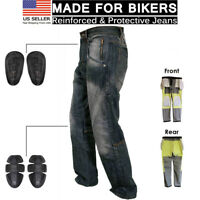 Mens Motorcycle Protective Lined Jeans Knee Armour Biker Denim Trouser Pant