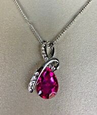 Silver Chain with Hot Pink Pendant Necklace NEW
