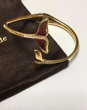 KATE SPADE CLEAR/GOLD OFF WE GO WHALE TAIL OPEN  BANGLE BRACELET W/ KS DUST BAG