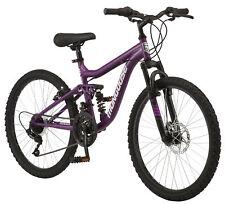 Mongoose Major Full Suspension Frame Women's Mountain Bike 24-Inch Girls Bicycle
