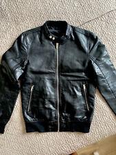 Smart Black Faux Leather Jacket Motorbike Trendy Zara Man Size M