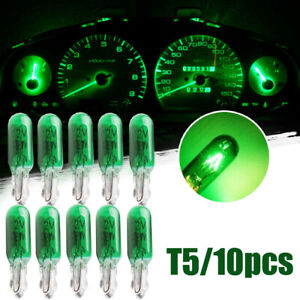 10x Green W2W T5 Car Dashboard Light Panel Gauge Halogen Lamp Bulbs Accessories