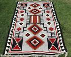 Large Wool Kilim Navajo Southwestern Bohemian Gray Rug 5 x8  Handmade Rug