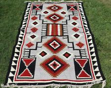 Large Wool Kilim Navajo Southwestern Bohemian Gray Rug 5'x8' Handmade Rug